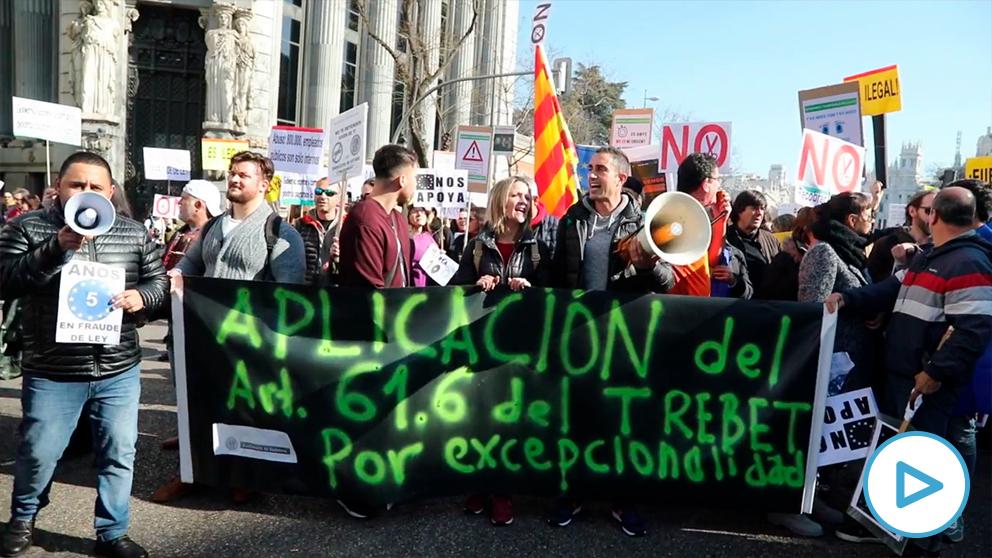 Manifestación de interinos en Madrid contra el abuso de la temporalidad en la Administración pública. (Imagen: OKDIARIO)