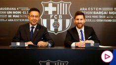 Messi y Bartomeu, en la última renovación del argentino.