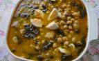 Guiso de cocochas de bacalao, garbanzos y espinacas