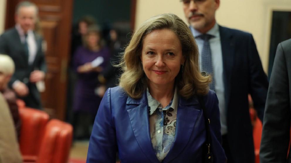 La vicepresidente de Asuntos Económicos, Nadia Calviño, antes de una reunión del Eurogrupo (EP).