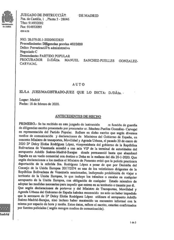 La juez ordena conservar las cintas del encuentro entre Delcy y Ábalos en Barajas y ve indicios de delito