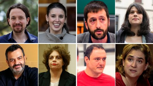 Las parejas Pablo Iglesias-Irene Montero, Juanma Del Olmo-Isa Serra, Pablo Fernández-Gloria Elizo y Adrià Alemany-Ada Colau.