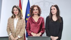 Las ministras de Trabajo, Hacienda e Igualdad, tras el Consejo de Ministros.