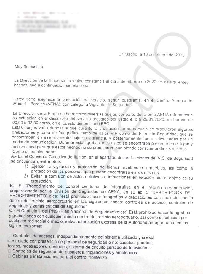 La empresa de seguridad de la Terminal Ejecutiva de Barajas acusa y expedienta a sus trabajadores por filtrar el 'Delcygate'