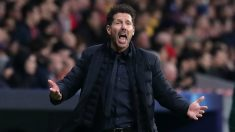Simeone, durante el Atlético – Liverpool. (Getty)