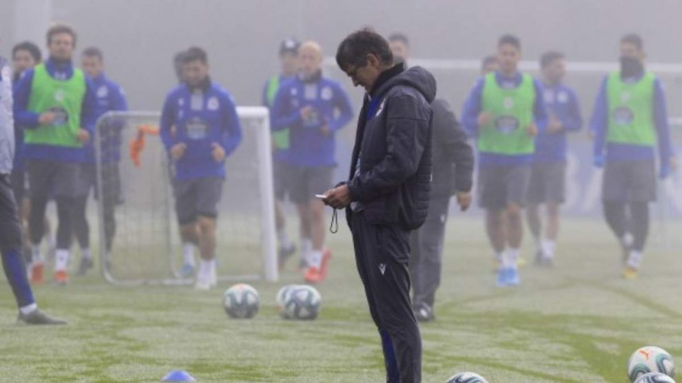 Fernando Vázquez durante un entrenamiento. (Deportivo de la Coruña)