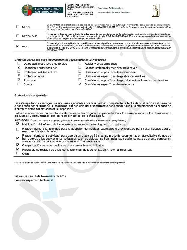 El vertedero de Zaldibar bajo responsabilidad de PNV y PSOE acumuló el cancerígeno amianto desde 2007