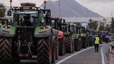 Una fila de agricultores en sus tractores protestan por las condiciones de la economía agraria en España. Foto: EFE
