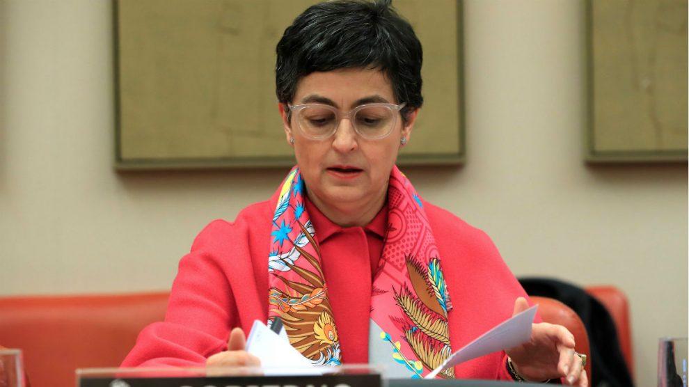 La ministra de Exteriores, Arancha González Laya, este jueves en el Congreso. (Foto: EFE)