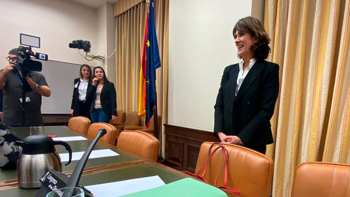 Dolores Delgado en su comparecencia como candidata a fiscal. (Foto: Joan Guirado)