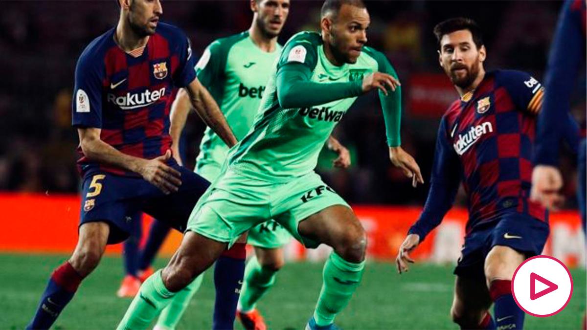 Martin Braithwaite con el Leganés frente al Barcelona. (@MartinBraith)