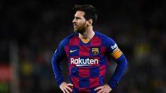 Messi, durante un partido de esta temporada. (Getty)
