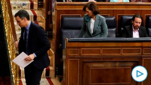 Sánchez, Calvo e Iglesias, en el Congreso.