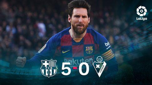 Leo Messi se marcó un póker ante el Eibar.