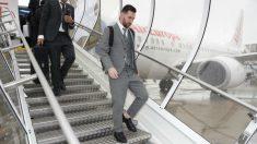 Messi, en un viaje del Barcelona.