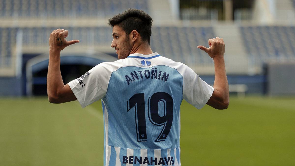 Antoñín Cortés con el Málaga