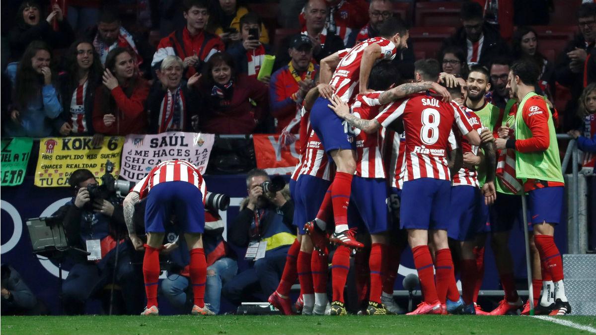 El Atlético celebra un gol. (EFE)
