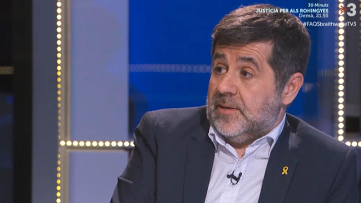 Jordi Sànchez durante su entrevista en TV3