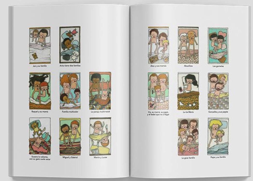Las 16 viñetas del libro 'Familias que trata la diversidad familiar para niños. (Foto: Somoslibro)