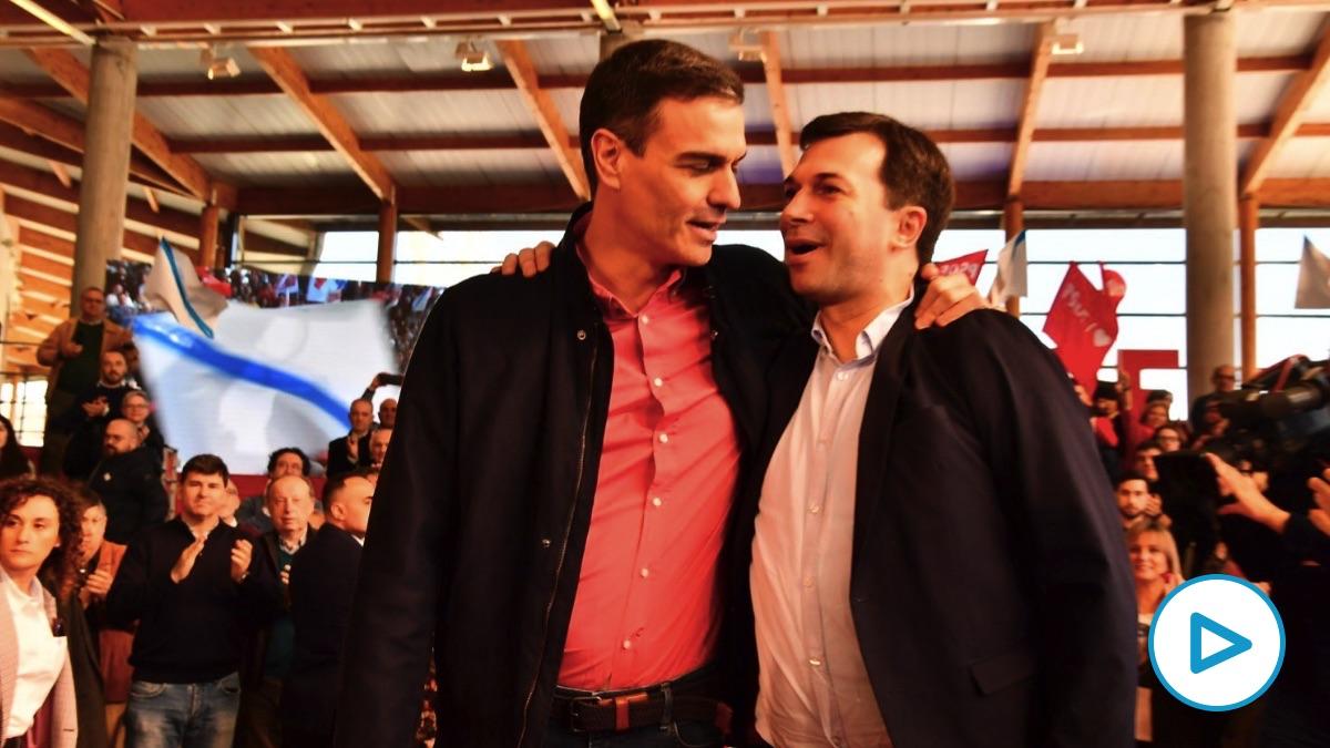 Pedro Sánchez con Gonzalo Caballero este domingo en Galicia. (Foto. PSOE)