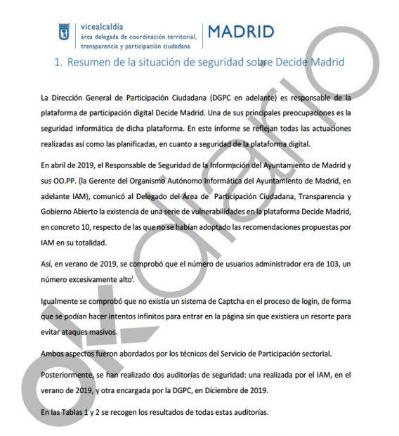 Un informe oficial desvela que las «votaciones ciudadanas» de Carmena permitían manipular los resultados