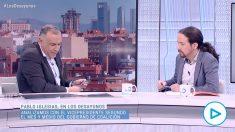 Pablo Iglesias durante su entrevista en 'Los Desayunos de TVE' con Xabier Fortes.