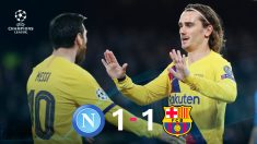 Messi se tomó el día libre en Nápoles, pero por suerte estuvo Griezmann. (Getty)