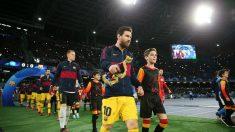 Messi, antes de comenzar el Nápoles – Barcelona. (Getty)
