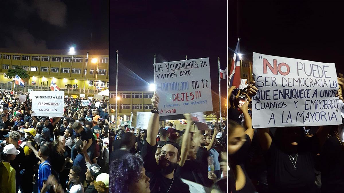 Jóvenes dominicanos manifestándose en la plaza de la bandera, Santo Domingo.