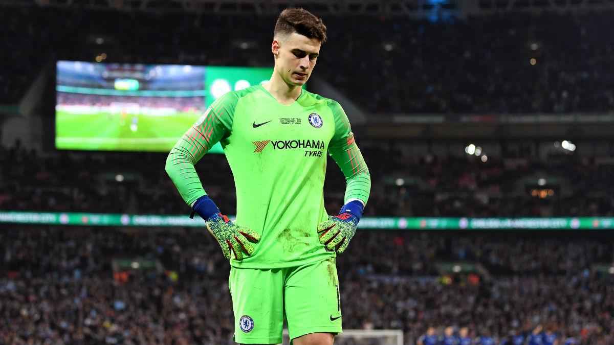 Kepa, durante un partido con el Chelsea. (Getty)