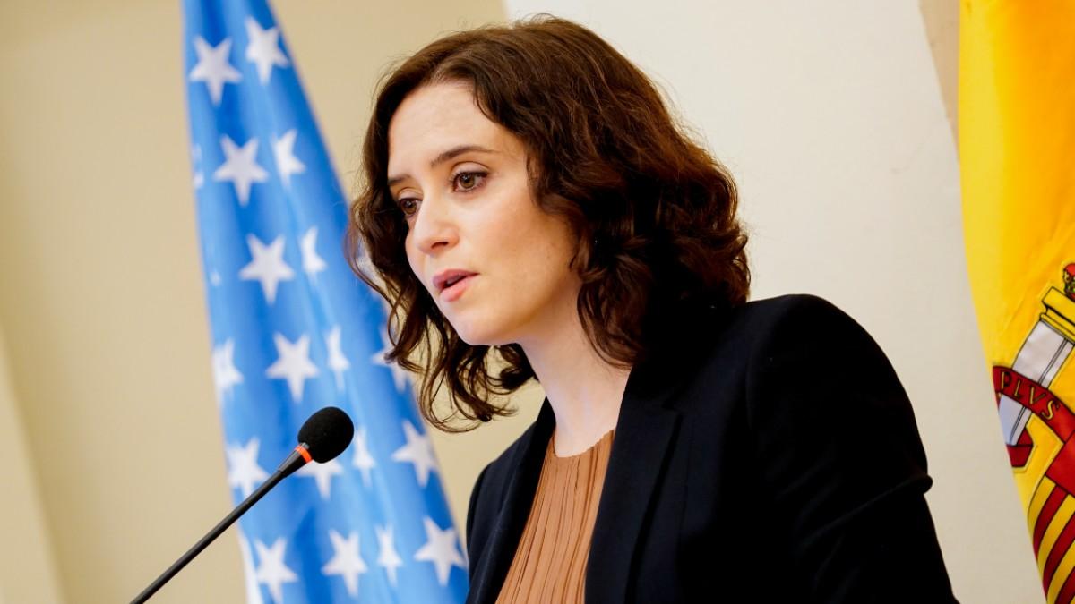 Isabel Díaz Ayuso, presidenta de la Comunidad de Madrid, esta mañana en un desayuno como empresarios norteamericanos.