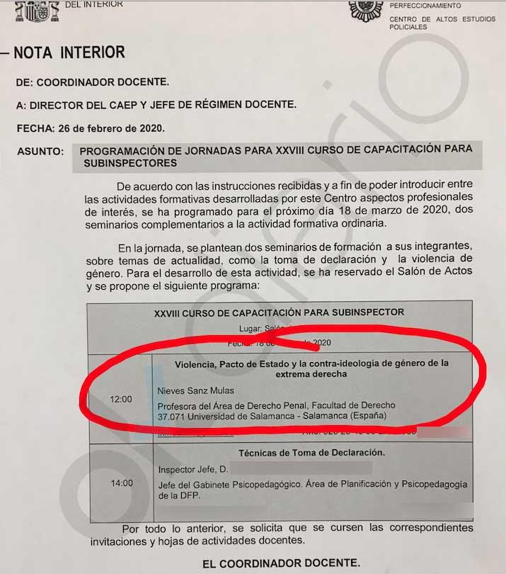 """Interior retira su curso para subinspector sobre la """"contra-ideología de género de la extrema derecha"""" tras desatarse la polémica"""