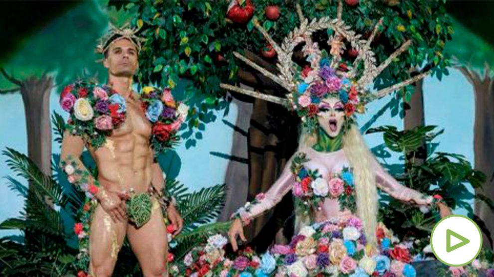 Drag Sethlas, con la fantasía 'Si la tentación es hermosa imagínate el pecado'. Foto: EFE