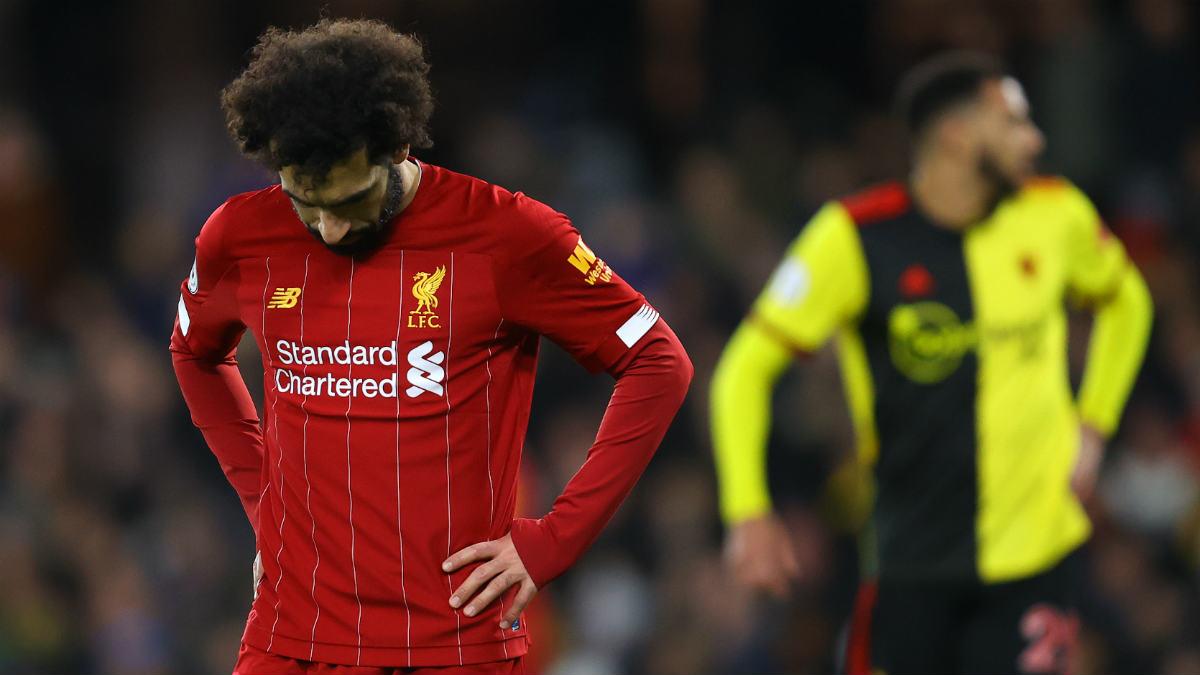 Salah se lamenta en el Watford-Liverpool. (Getty)