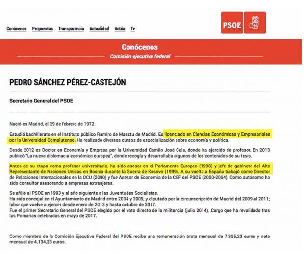 Ni jefe en la ONU ni universidad pública: Sánchez corrige los 'fake' de su currículum destapados por OKDIARIO