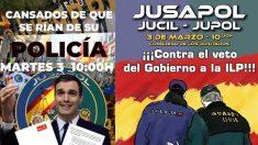 Concentración convocada por Jusapol contra el Gobierno