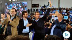 Núñez Feijóo, con Rajoy y Casado.