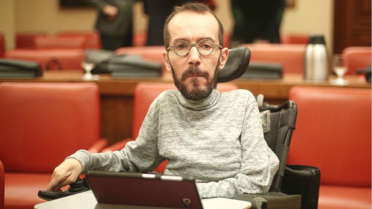 El portavoz de Unidas Podemos en el Congreso, Pablo Echenique durante una reunión de la diputación permanente. (Foto: Europa Press)