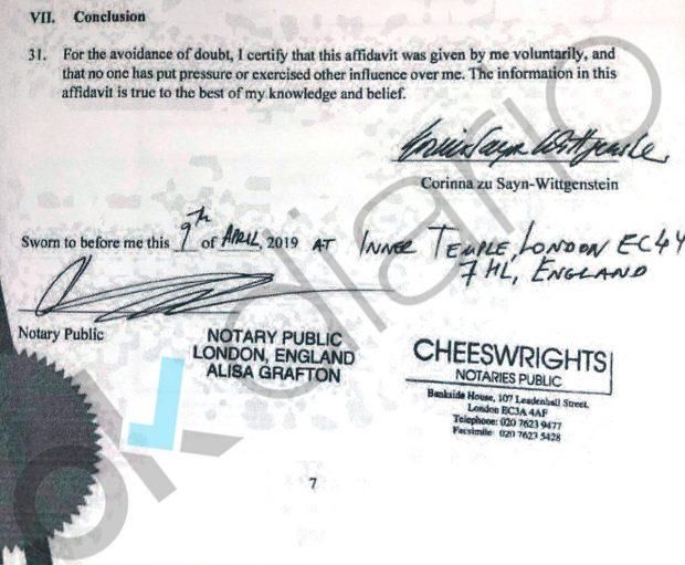 La declaración jurada de Corinna está firmada ante la notario londinense Alisa Grafton.