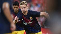 Frankie de Jong durante un calentamiento con el Barcelona. (Getty)