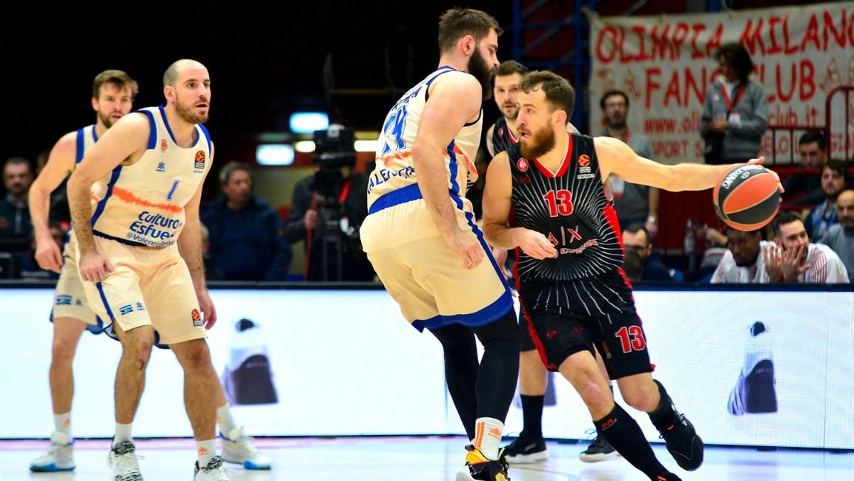 Sergio Rodríguez defendido por Bojan Dubljevic durante el Armani Milan-Valencia Basket de la primera vuelta. (Foto: Euroliga)