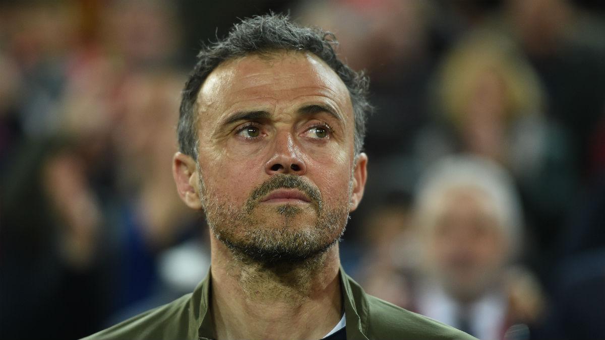 Luis Enrique, durante un partido con España. (Getty)