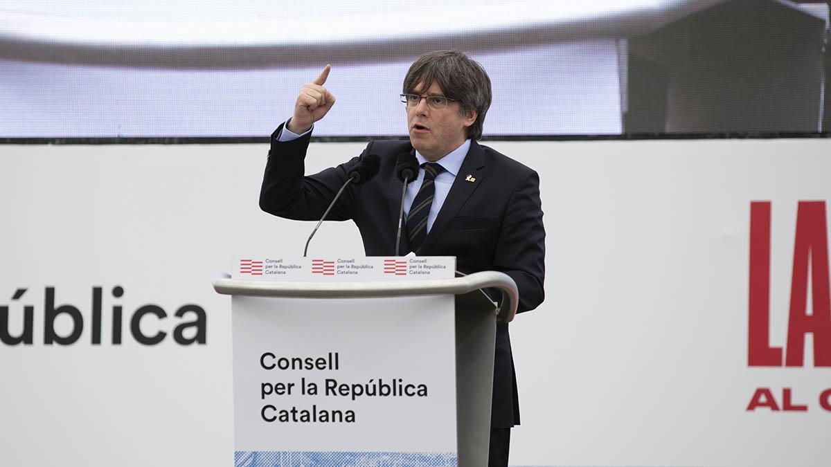Carles Puigdemont durante su intervención en el acto de Perpiñán. (Ep)