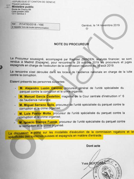 """El fiscal habla de """"las modalidades de ejecución de la comisión rogatoria y las especificidades del sistema suizo y español en materia de autoayuda""""."""