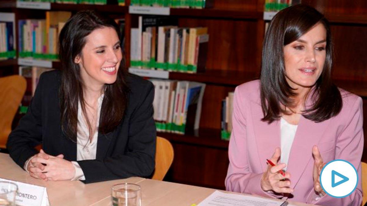 La ministra de Igualdad, Irene Montero, y la Reina Letizia durante la mesa de trabajo. Foto: EP