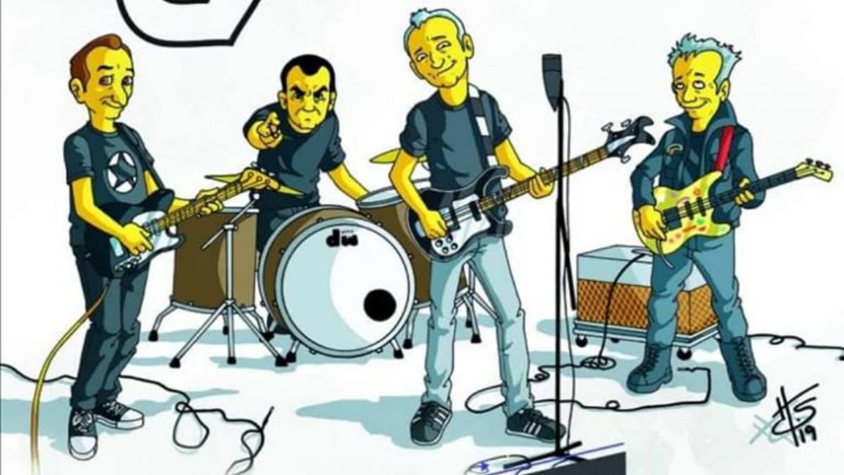 Una de las caricaturas de Hombres G para su última gira.