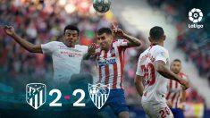 Atlético y Sevilla firmaron un 2-2 en el Metropolitano.
