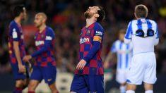 Messi se lamenta tras una ocasión fallada ante la Real Sociedad. (Getty)
