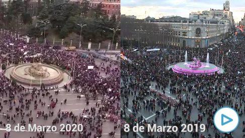 Comparativa de las manifestaciones del 8M de 2019 y 2020.