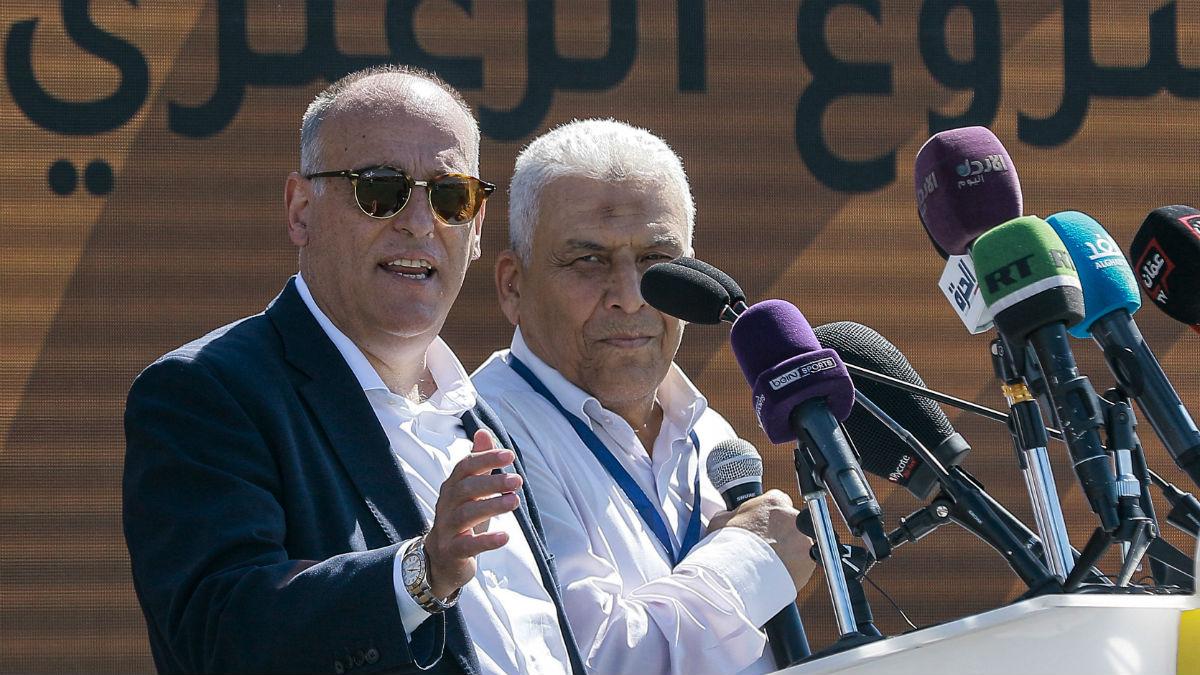 Javier Tebas, en un acto en Oriente Medio. (AFP)